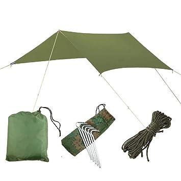 Survival Gear Vidillo H/ängematte Regenfliegenzelt Plane Wasserdicht Gr/ün Camping H/ängematte Backpacking Plane Unterstand mit 6 Pf/ählen und Seilen leichte Regenfliege f/ür Doppelh/ängematte