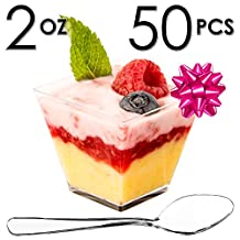 DLux™ Mini Dessert Cups, Appetizer Bowls & Spoons with Recipe e-Book [Clear Plastic, 2 oz, Square Short, 50 Count] Small Catering Supplies, Disposable Tasting Glasses, Parfait Tumblers, Shooters