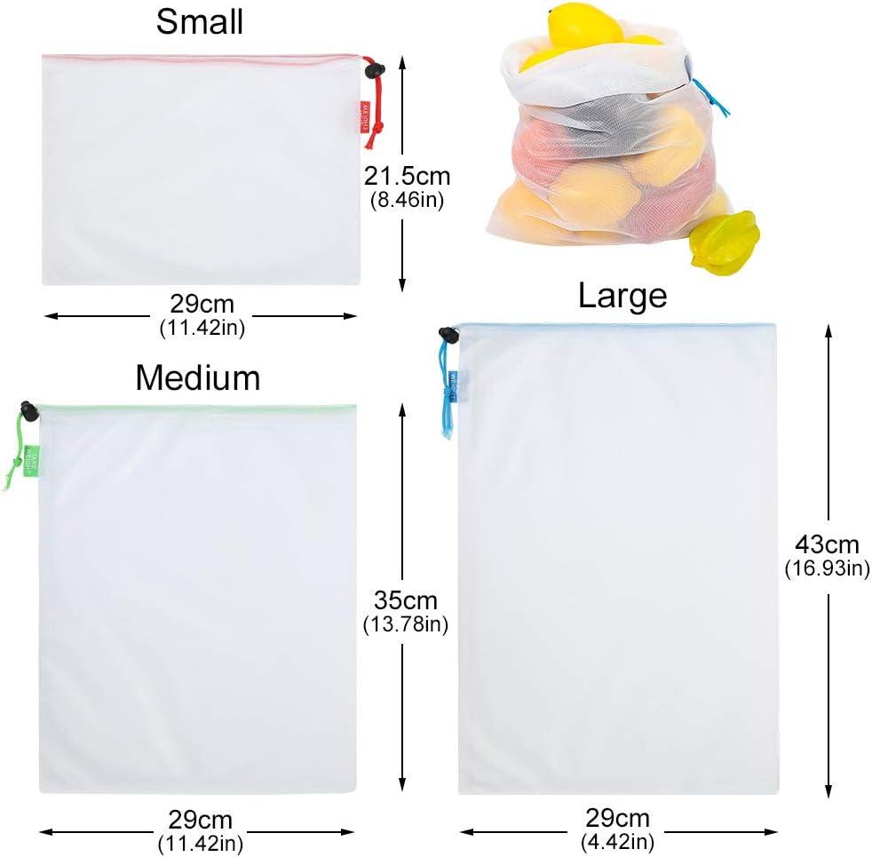 Lot de 6 emballages alimentaires r/éutilisables en cire dabeille Alternative /écologique au film /étirable en plastique durable Sans d/échets 3 sacs de rangement en maille Yorwd