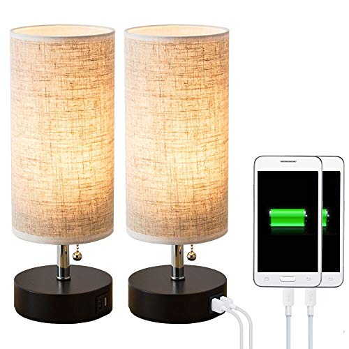 (Lifeholder Table lamp, Black Wooden Base Bedside Desk Lamp,Nightstand Lamp with Dual USB Charging Port, Bedside USB Table Lamp Perfect for Bedroom, Living Room or Office (2 Packs))