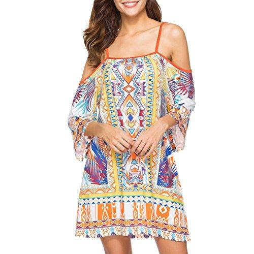 Auwer Sling National Wind Bohe Dress, Womens Cold Shoulder Spaghetti Strap Tribal Sleeve Summer Shift Dress (M, Yellow 1)