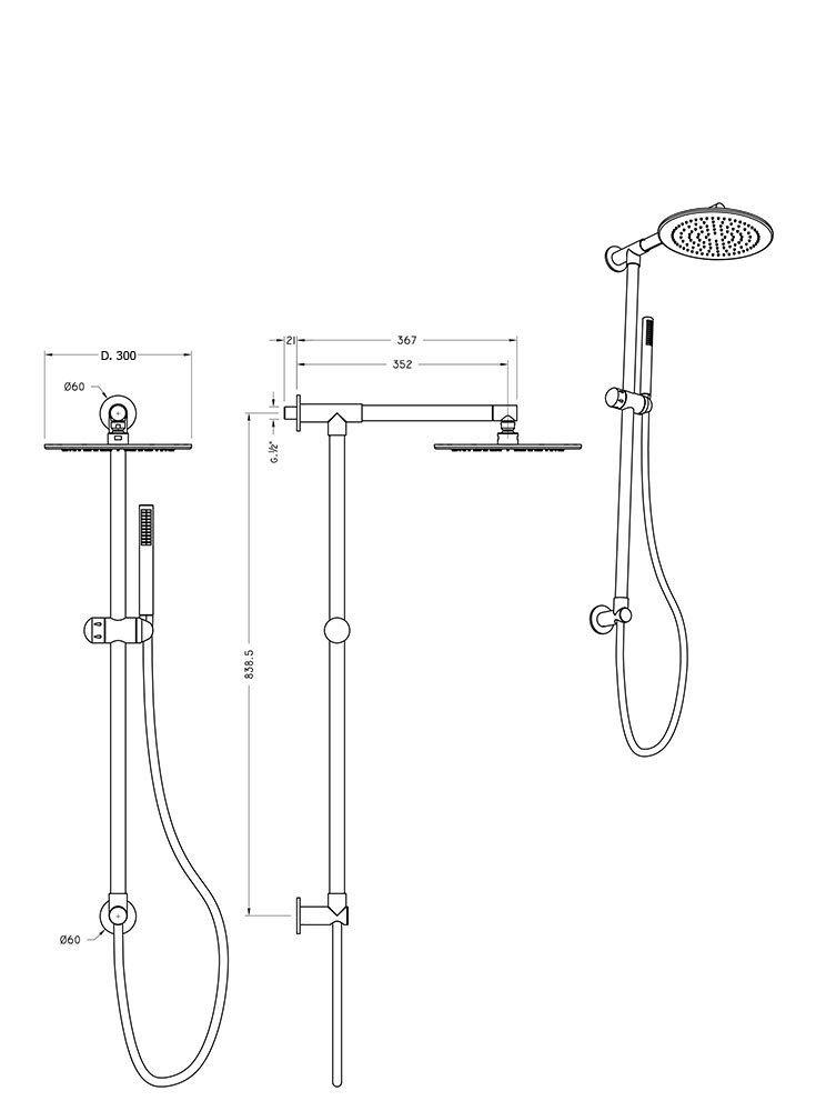 Columna de ducha redonda Divina, toma de agua conexión superior ...