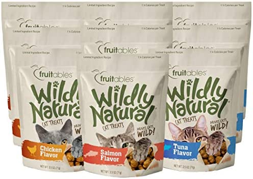 Fruitables 2.5 Ounce Wildly Natural Cat Treat Variety Packs with Chicken, Tuna, and Salmon