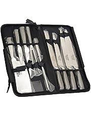 9 couteaux de chef Ross Henery, lot de 9 pièces, couteaux de cuisine professionnels avec aiguiseur dans un étui de transport à fermeture éclair.
