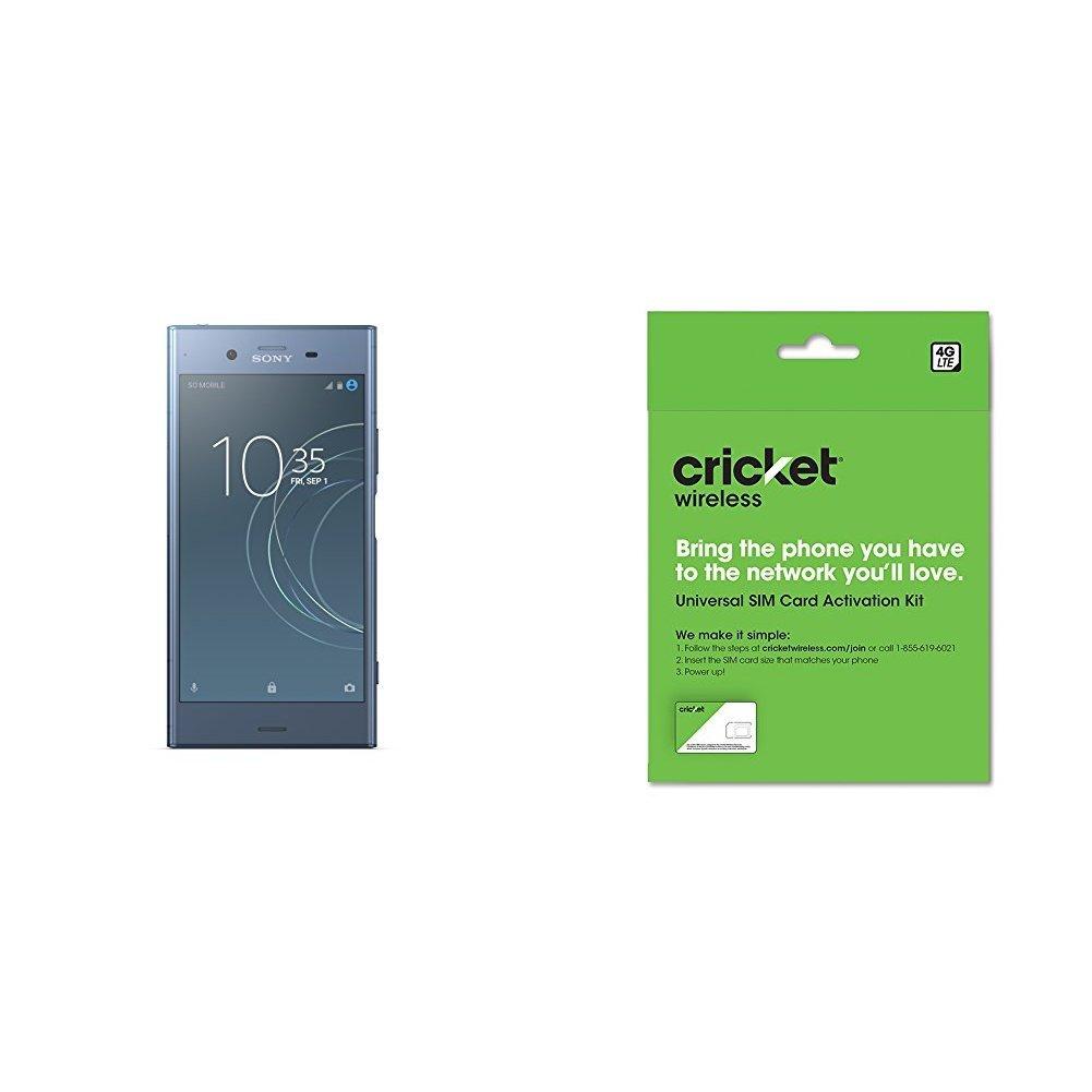 Sony Xperia XZ1 Factory Unlocked Phone - 5.2'' Full HD HDR Display - 64GB - Moonlit Blue (U.S. Warranty) and Cricket Wireless BYOD Prepaid SIM Card