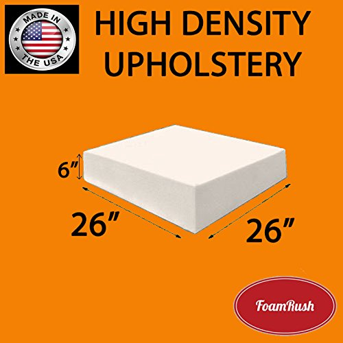 "FoamRush 6"" H x 26"" W x 26"" L Upholstery Foam Cushion High Density (Chair Cushion Square Foam for Dinning Chairs, Wheelchair Seat Cushion Replacement)"