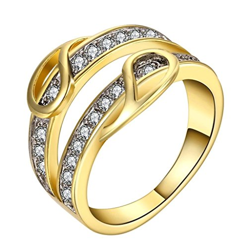 AmDxD Gold Plated Women Rings Gold Unique CZ Design Size 8