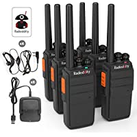 Radioddity R2 400-470MHz. Two Way Radio with 16 Channels,96 Hours Super Long Standby VOX Scrambler,1200Ma Li-ion Battery Granular Sensation Walkie Talkie (Pack of 6)