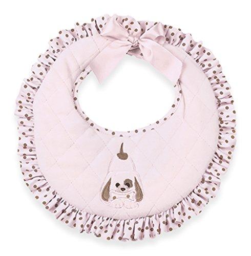 "Bearington Baby Wiggles Puppy Bib (Pink) 10"" x 10"""