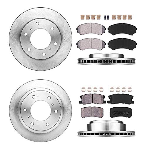 FRONT 290 mm + REAR 300 mm Premium OE 6 Lug [4] Rotors + [8] Quiet Low Dust Ceramic Brake Pads + Clips (Montero Front Brake)