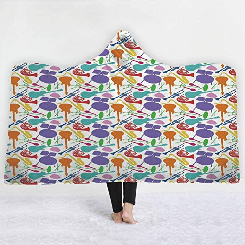 HiDecorRoom 3D Printing Hooded Blanket Double Layer Flannel,