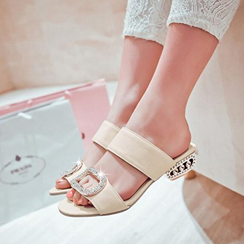 De Zapatos Beige Tacón Verano Bajo De Cómodos Sandalias De Nuevas Mujer Rqpn55