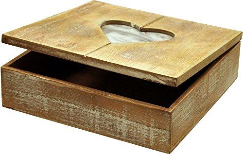 Holz-Geschenkbox mit Herz-Bilderrahmen, Fotobox, Holzbox ,Holzschatulle, Holzschachtel, Schmuckkästchen mit Herzmotiv, 20 x 20 x 6 cm