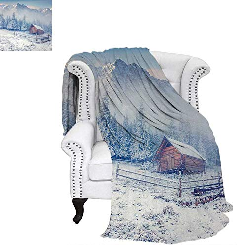 Throw Blanket Old Farmhouse in Snow Mountains and Frosted Forest Rustic Life Photography Warm Microfiber All Season Blanket for Bed or Couch 90