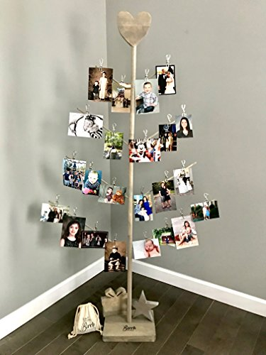 Branch Holiday Cards - Birch Branch Card and Photo Tree Stand (Weathered Grey)