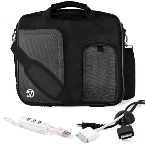 BLACK Pindar Durable Water-Resistant Nylon Protective Carrying Case Messenger Shoulder Bag For SONY VAIO T Series 13.3-Inch Touchscreen Ultrabook + Black Cable Organizer + White 3 Port USB HUB with Micro USB Charger ()