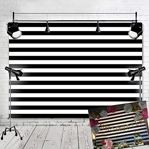 Art Studio Black and White Stripe Photo Background for Bride Baby Shower Party Supplies Photography Studio Props Booth Backdrops Vinyl 7x5ft ()