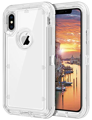 "JAKPAK Clear Case for iPhone Xs Case Heavy Duty iPhone X Case Transparent Full Body Protective Shockproof Anti-Scratch Cover Hard PC Bumper+TPU Back Shell for iPhone XS/X/10/10S 5.8"" -Clear"