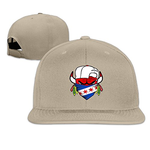 Price comparison product image LINNA Custom Unisex-Adult Cool Chicago Team With Flag Mixed Flat Billed Baseball Hats Natural