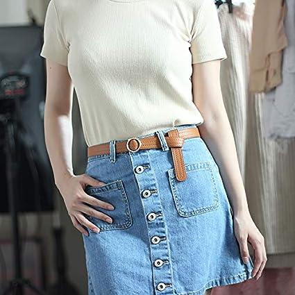 Jixin4you Boucle Ronde Ceinture PU Femme Sans Trou Souple Mode pour Jean Jupe