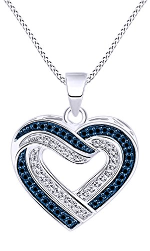 - Jewel Zone US 1/3 Ct Blue Natural Diamond Heart Pendant Necklace in 14k White Gold Over Sterling Silver