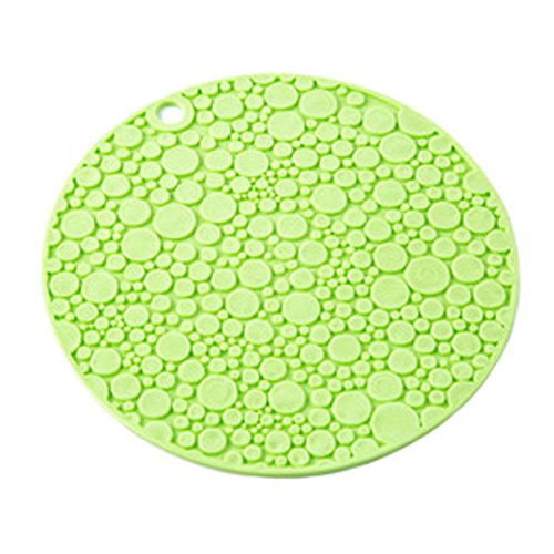 4PCS Circle Anti-slip Cup Mat Hot Pad Coaster Heat Resistance, Green