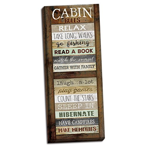 Gango Home Decor Lodge Cabin Rules by Marla Rae (Ready to Hang); One 8x20in Hand-Stretched Canvas