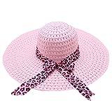 Beach Cap Women Print Two-Side Big Brim Straw Hat Sun Floppy Wide Brim Hats Pink