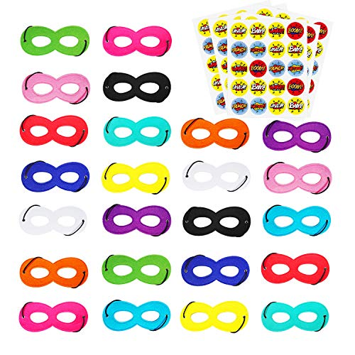 AIMIKE Superhero Masks, Cosplay Party Favors, Superhero Eye Masks for Kids with 100 Round Superhero Stickers, 24Pcs Multicolor Masks]()
