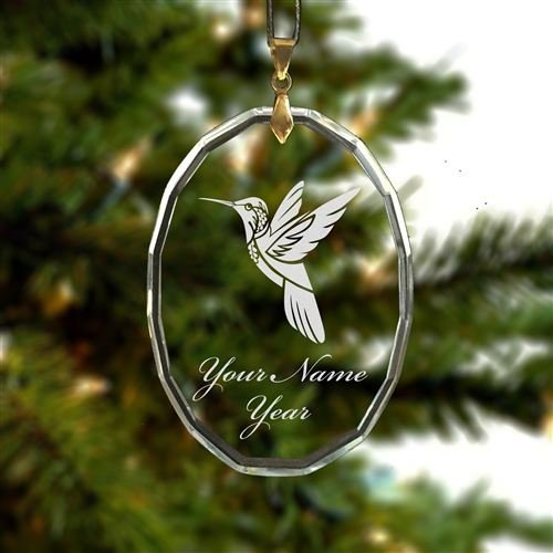 Personalized Oval Crystal Christmas Ornament - Hummingbird - Engraved for Free