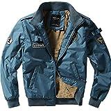 Classic Men's Nylon Autumn Winter Warm Ma Pilot Bomber Essential Biker 1 Jacket Coat Motorcyclist Retro Outside Army Windbreaker (Color : Blau, Size : XL)