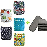 Storeofbaby 5pcs Flip Diapers Printed Reusable Prefold for Boys and Girls + 5pcs 4-layer Bamboo Charcoal Inserts (Pack of 5)