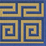 Cocktail Napkins Holiday Party Christmas Napkins Entertaining Paper Napkins Greek Meander Blue/Gold Pk 40