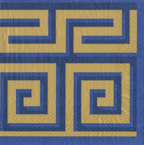Cocktail Napkins Holiday Party Christmas Napkins Entertaining Paper Napkins Greek Meander Blue/Gold Pk 20 (Party Food Christmas Cocktail)