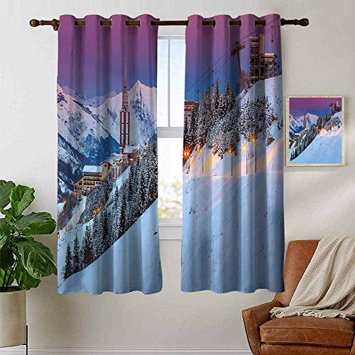 petpany Blackout Curtain Panels Window Draperies Winter,Majestic Winter Sunrise Landscape and Ski Resort Spruce Pine Forest French Alps,for Bedroom, Kitchen, Living Room 42