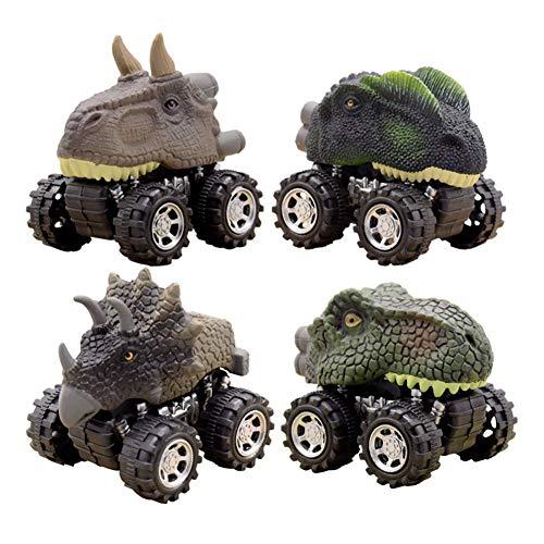 プルバック恐竜車 ミニプルバック恐竜車 大きなタイヤホイールプルバックとゴーカー おもちゃのプレイセット アニマルトラック 車 3~14歳の男の子 女の子 子供 幼児 子供へのギフト パーティーに 4パック