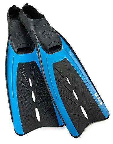 AERIS Velocity Full Foot Scuba Snorkel Swim Fins (Turquoise, X-Large (Men's 10.5-11.5))