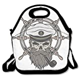 Sjqwnswjw Child One Size Captain Pirate Skull In Sailor Hat With Beard And Pipe Nautical Theme Cute Gym Drawstring Bags Travel Backpack Tote School Rucksack