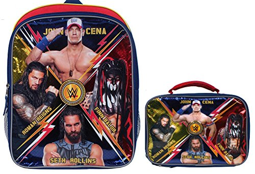 WWE 16 inch Backpack with Side Mesh Pockets Insulated Lunch Box Set by Morgan Bait Company Inc
