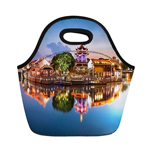Semtomn Neoprene Lunch Tote Bag Blue China Suzhou City Jiangsu Shan Tong Street Night Reusable Cooler Bags Insulated Thermal Picnic Handbag for Travel,School,Outdoors, - Suzhou China Jiangsu