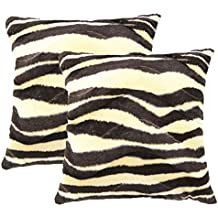 Sykting Sofa Pillow Cases Throw Pillow Covers 18 x 18 Pack of 2 Short Plush Faux Fur Animal Print Cushion Covers