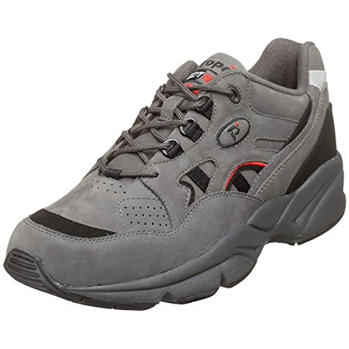 Propet Mens Stability Walker Shoe Grey / Black Nubuck 9 X (3E) & Cleaner Bundle uv2qRP4