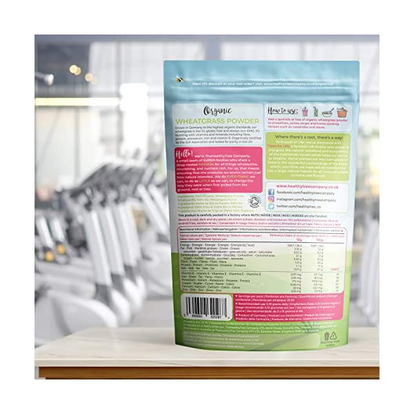 Polvere di Erba di Grano Bio di TheHealthyTree Company - Alto Contenuto di Fibre, Vitamina E, Potassio e Ferro - Pura… 6 spesavip