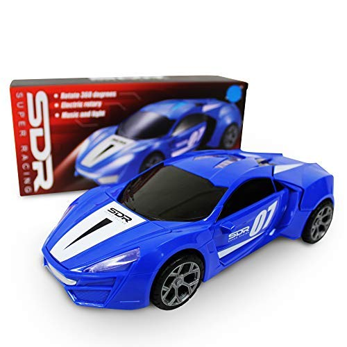 (SDR Super Racing Car Toy with 360° Rotation, LED Lights and Sounds for Kids, with Bump and Go Action)
