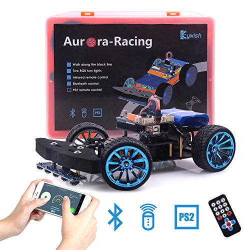 Keywish Nose Wheel Steering High Speed Smart Aurora-Racing Robot Car Kit with UNO R3,TB6612FNG Motor Driver,Bluetooth App with G-Sensor Control,IR control,Support PS2 Wireless Control,Line Tracking