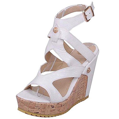 White Compensées Mode Sandales RAZAMAZA Femmes Chaussures Talons w4YFxfq