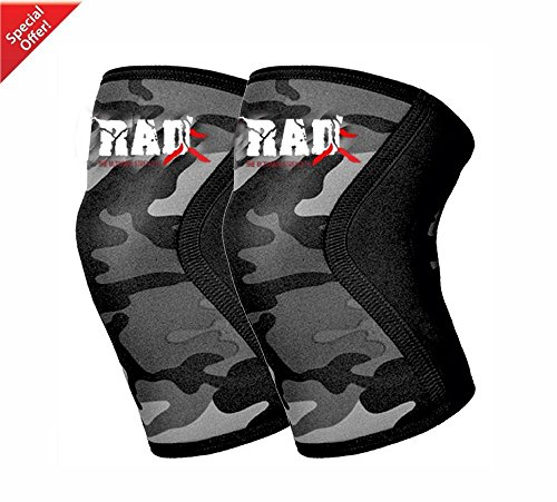 RAD (1 Pair) Neoprene Knee Brace Support Wraps Pain Injury Relief Sleeves Bandage Camouflage Gray (Small / Medium)