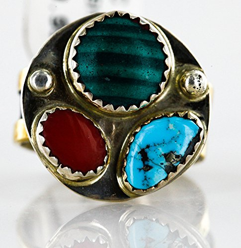 - .925 Sterling Silver and 12kt Gold Filled Handmade Certified Authentic Navajo Multi color Native American Ring