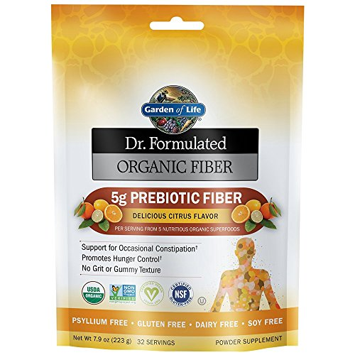 Garden of Life Dr. Formulated Organic Prebiotic Superfood Fiber Supplement for Constipation Relief and Hunger Control, Vegan, Citrus, 7.9oz (223g) Powder
