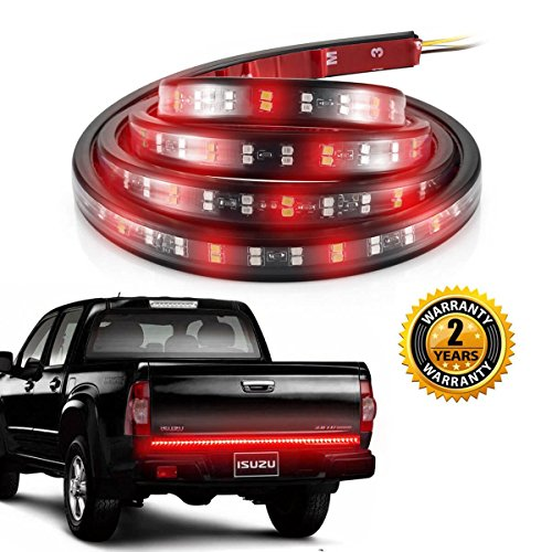 ALOVECO Truck Led Tailgate Light Bar 60 Inch Double Row with Reverse, Red/White Tail Strip Light Running Turn Signal Brake Tail Bed Light for Pickup SUV Jeep RV Van Dodge (60' Led Tailgate Bar)